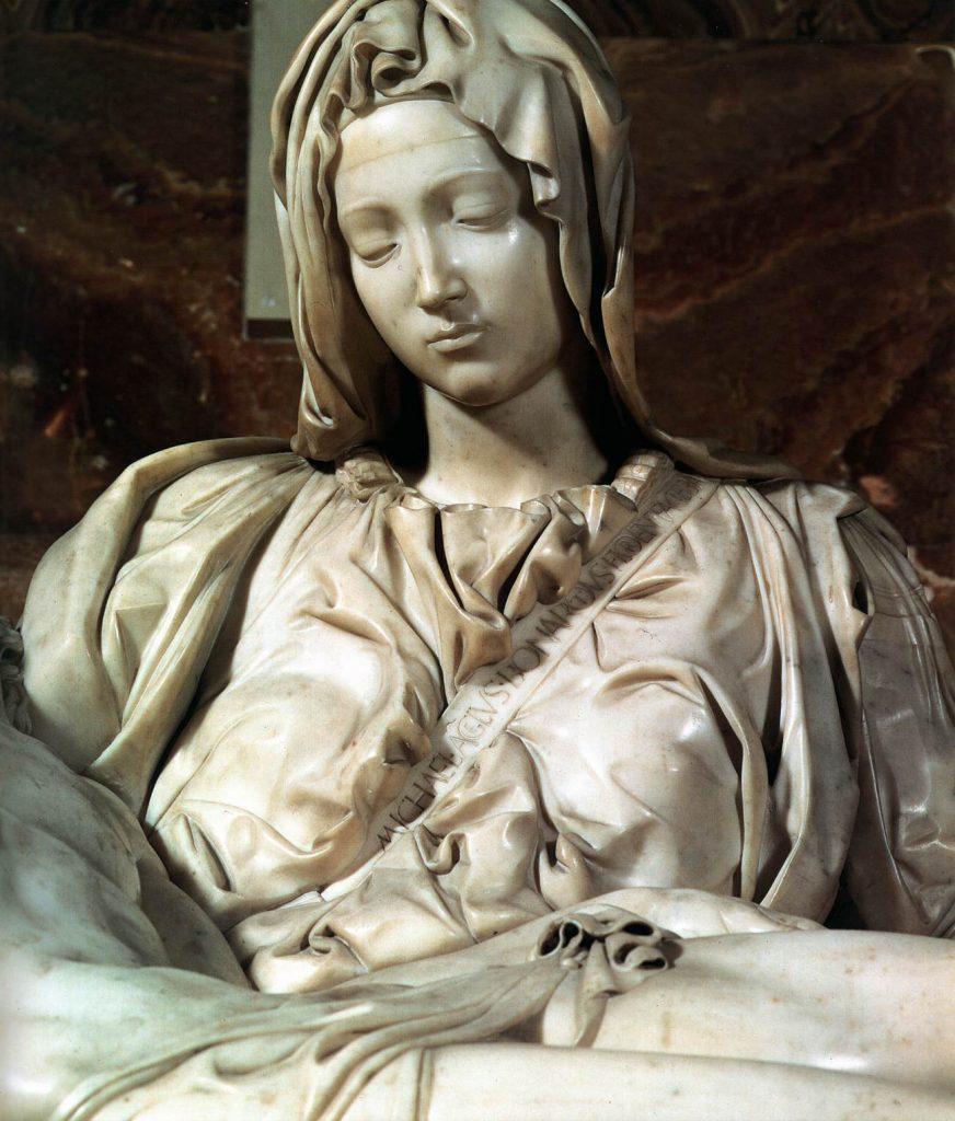Michelangelo Pietasındaki meryem genç kız gibi görünür sebebi yazımın içinde