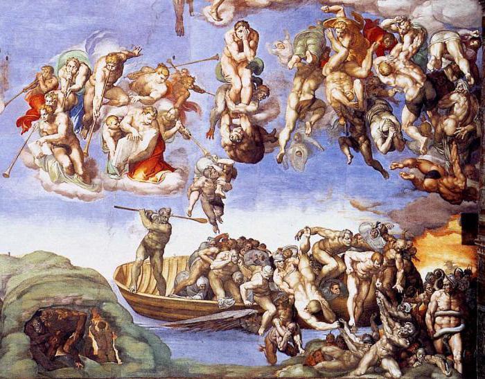 Michelangelo nun son yargı eserinde cehennemlikler korku dolu gözlerle merhamet dilenirken resmedilmişler.