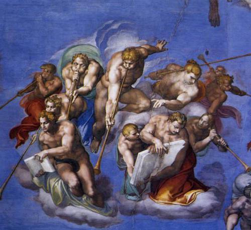 Son yargı resminde sur a üfürülüş ve iyiliklerin yaıldığı defter, kötülüklerin yazıldığı diğer defter resmedilmiştir.