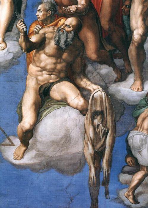 Michelangelo Son Yargı eserinde kendi resmini de yapmış